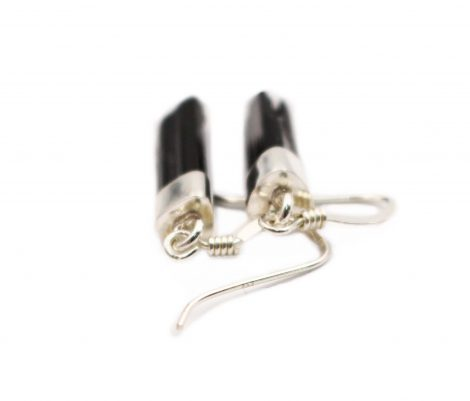 "Black Tourmaline ""Semi-Polished"" Sterling Silver Earrings - Crystal Dreams"