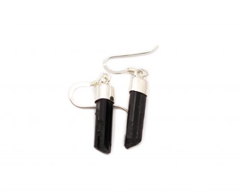 "Black Tourmaline ""Semi-Polished"" Sterling Silver Earrings - Crystal Dreams"