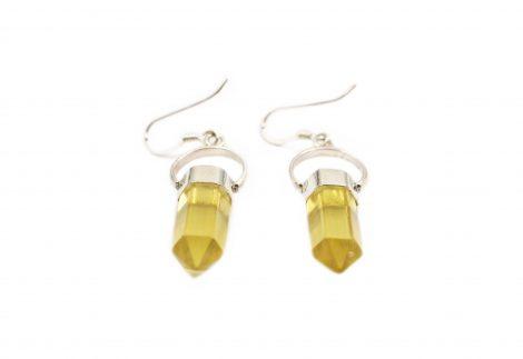 Yellow Fluorite Point Sterling Silver Earrings - Crystal Dreams