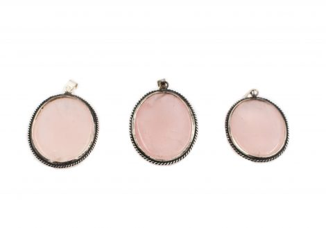 Rose Quartz Vintage Sterling Silver pendant - Crystal Dreams