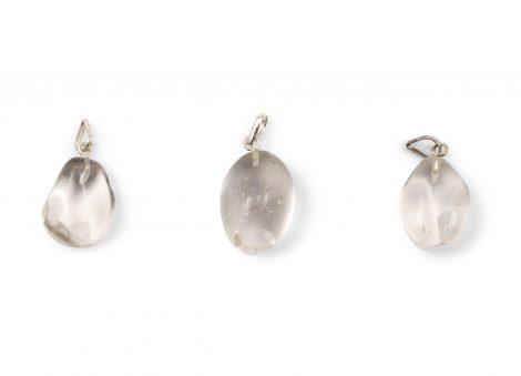 Clear Quartz Tumbled Sterling Silver Pendant - Sterling Silver