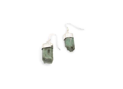 Emerald Rough Sterling earrings Sterling Silver-Crystal Dreams