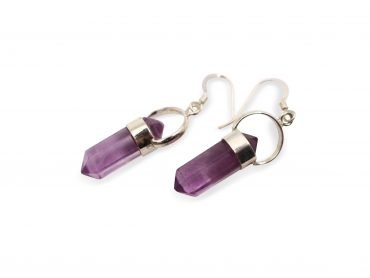 "Fluorite ""Point"" Sterling Silver Earrings - Crystal Dreams"