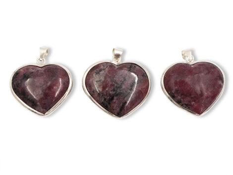 Rhodonite Heart Sterling Silver Pendant - Crystal Dreams
