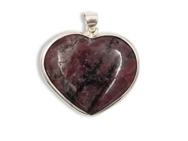 Rhodonite Heart Sterling Silver Pendant - Crystal Dreams