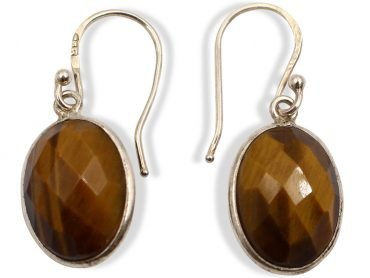 "Tiger Eye ""Faceted Cabochon"" Sterling Silver Earrings - Crystal Dreams"