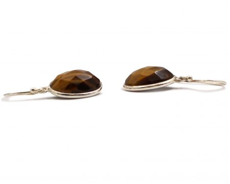 """Tiger Eye """"Faceted Cabochon"""" Sterling Silver Earrings - Crystal Dreams"""