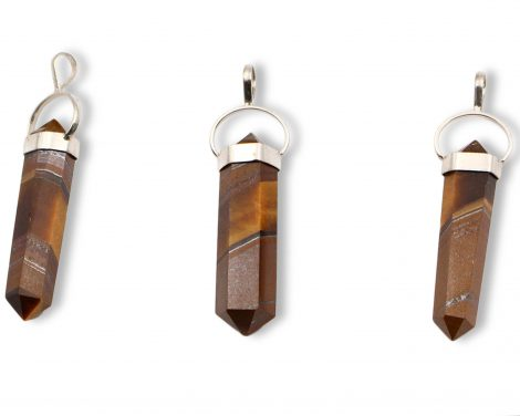 "Tiger Eye ""Double Point"" Sterling Silver Pendant - Crystal Dreams"