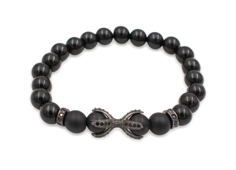 Black Agate Bracelet with Starfish Charm- Crystal Dreams