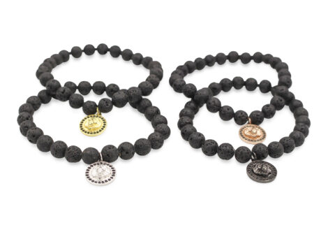 Lava Stone Bracelet With Lion Charm- Crystal Dreams