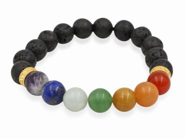 Lava Stone Chakras Bracelet (8 mm & 10mm)-Crystal Dreams