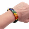 Lava Stone Chakras Bracelet (8 mm & 10mm)-Crystal Dreams