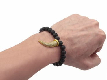 Lava Stone Bracelet with Horn Charm-Crystal Dreams
