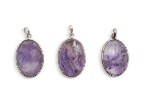 "Amethyst ""Oval"" Cabochon Sterling Silver Pendant - Crystal Dreams"