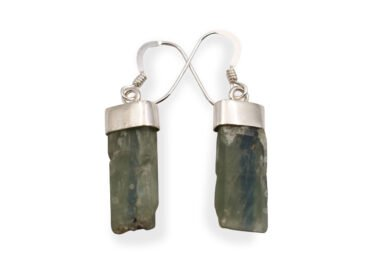 "Green Kyanite ""Rough"" Earrings in Sterling Silver - Crystal Dreams"