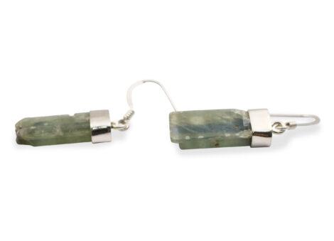 """Green Kyanite """"Rough"""" Earrings in Sterling Silver - Crystal Dreams"""