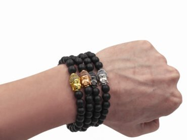 Matte Black Agate Bracelet with Buddha Charm (8mm)- Crystal Dreams