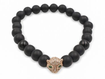 Matte Black Agate Bracelet with Jaguar Charm (8mm)- Crystal Dreams