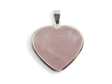 Rose Quartz Heart Sterling Silver Pendant - Crystal Dreams