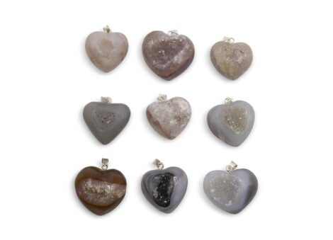 Agate Geod Puffy Heart Pendant Sterling Silver (Hand) - Crystal Dreams
