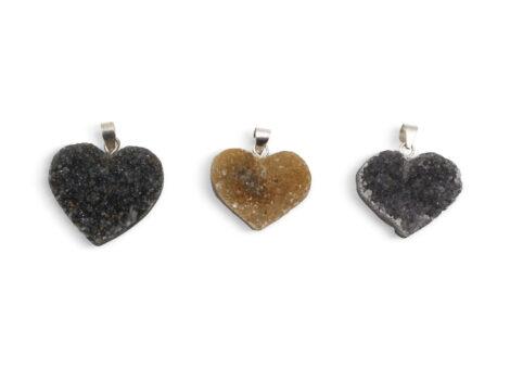 Druzy Agate Heart Pendant Sterling Silver - Crystal Dreams