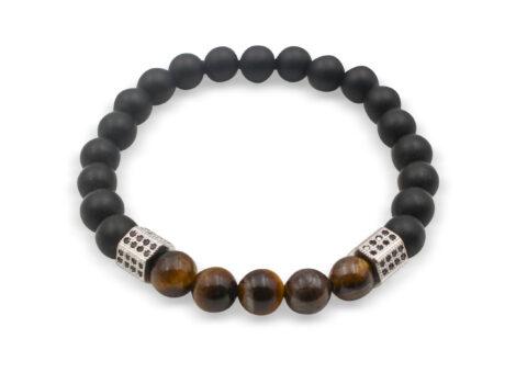 Matte Black Agate Noire & Tiger Eye Bracelet 8 mm - Crystal Dreams