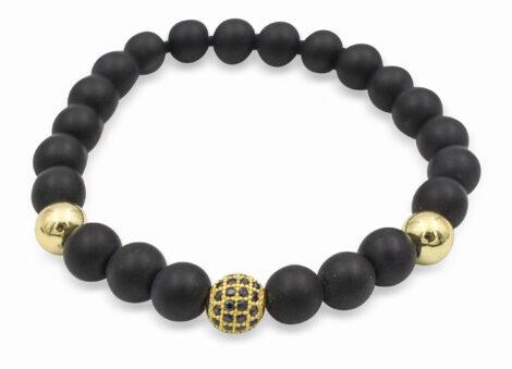 Matte Black Agate Bracelet with Sphere Charm- Crystal Dreams