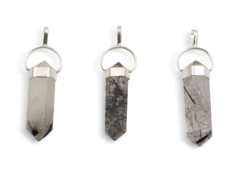 Tourmalinated Quartz Twin Point Sterling Silver Pendant - Crystal Dreams
