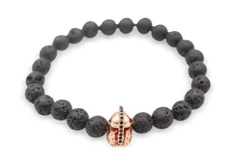 Lava Stone Bracelet with Helmet Charm - Crystal Dreams