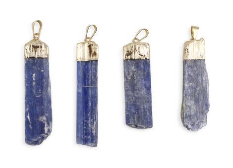 Rough Blue Kyanite Pendant Gold Colour - Crystal Dreams