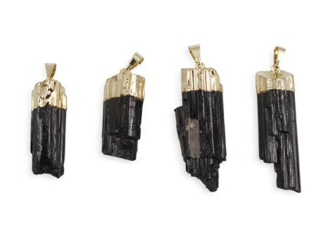 Rough Black Tourmaline Pendant Gold Colour - Crystal Dreams