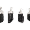 Black Tourmaline Rough Silver Pendant - Crystal Dreams
