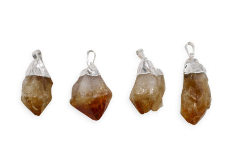 Citrine Polished Point Pendant Silver Colour - Crystal Dreams