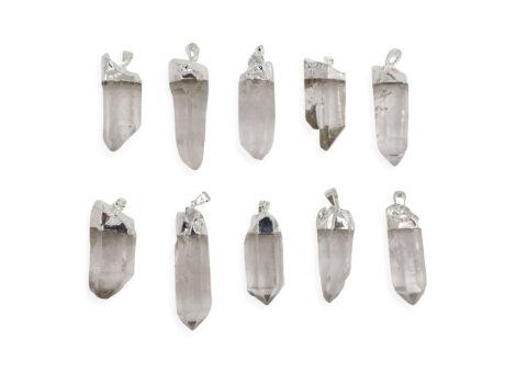 Clear Quartz Rough Point Pendant Silver Colour - Crystal Dreams